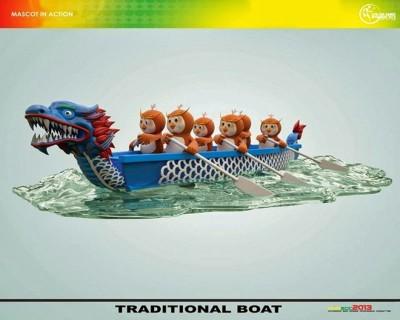 linh vat the thao sea game 27 con cu dua thuyen rong